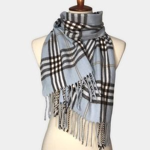 Vintage Cashmere Finished Scarf Made In Florence Italy Blue and Brown Plaid